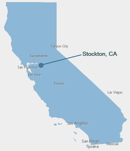 Map of California pointing to Stockton