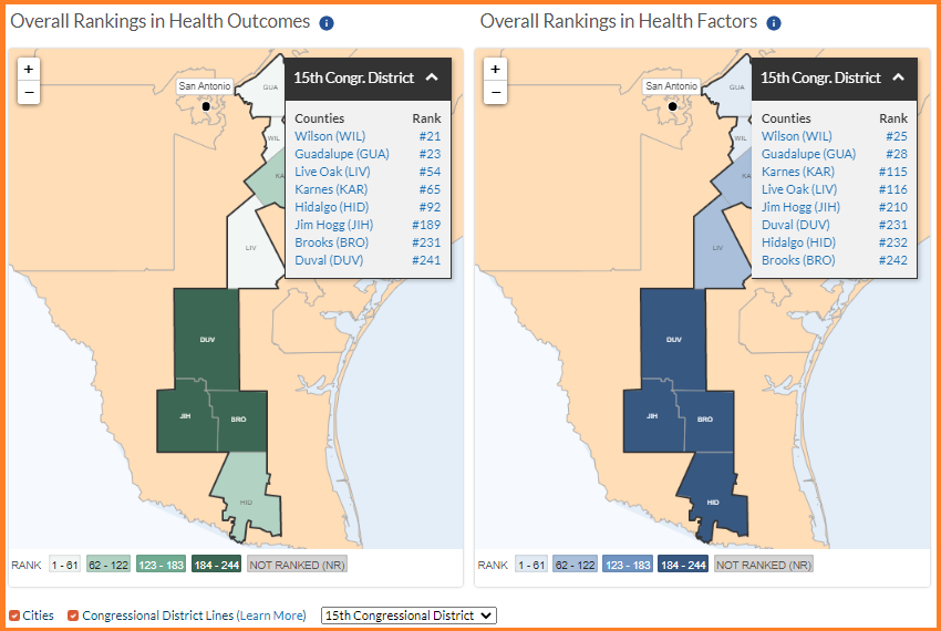 Screenshot of Health Outcomes & Factors of 15th Congressional District of Texas