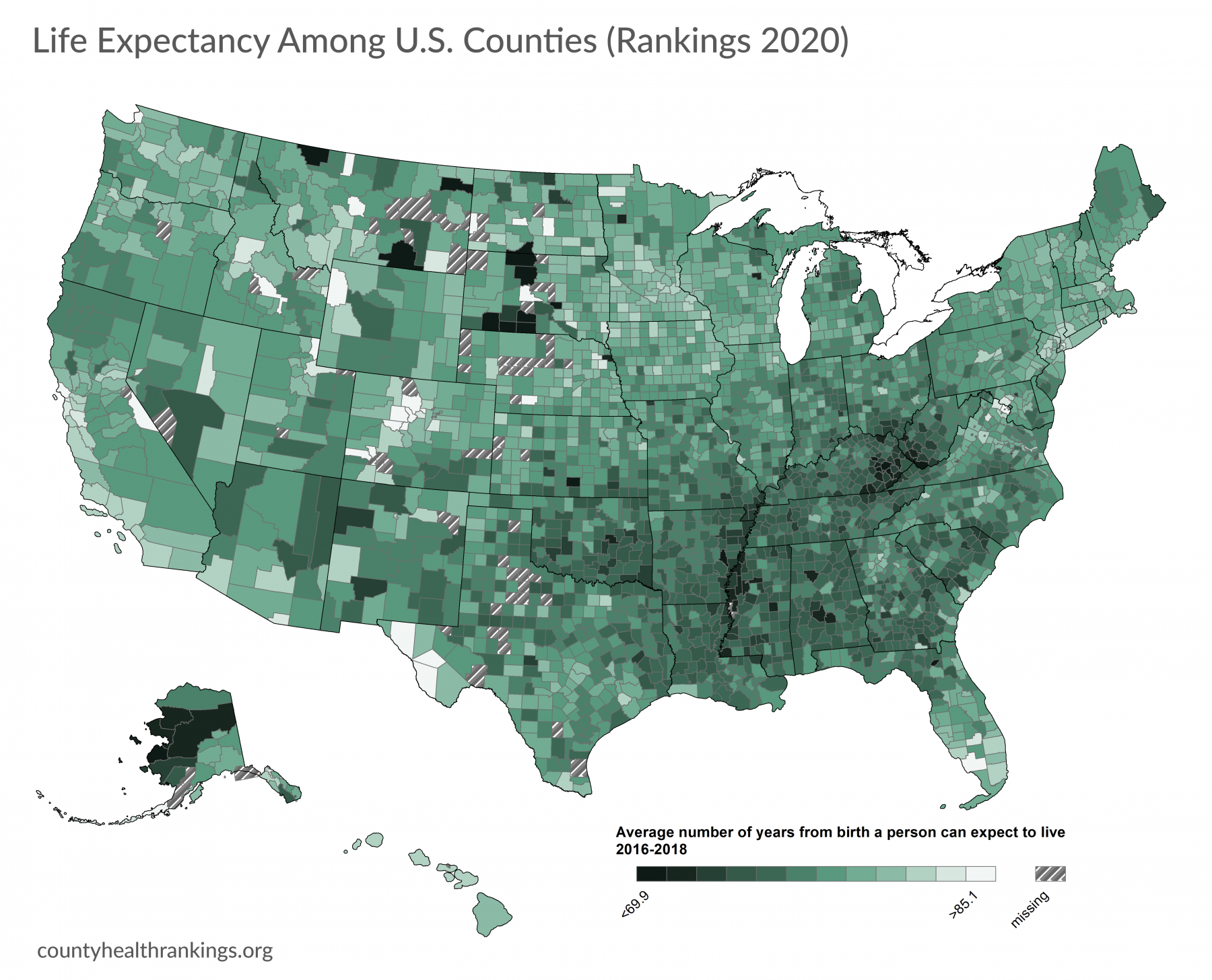Map of life expectancy in us counties